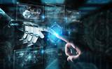 Fototapeta Kawa jest smaczna - Robot hand and human hand touching digital graph interface 3D rendering