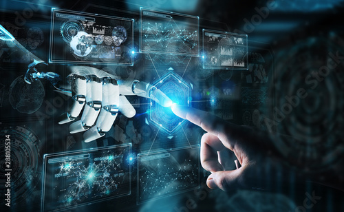 Photo Stands Coffee bar Robot hand and human hand touching digital graph interface 3D rendering
