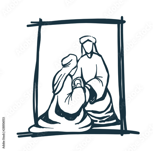 Stampa su Tela Drawing, Bible Merry christmas scene of holy family. Vector