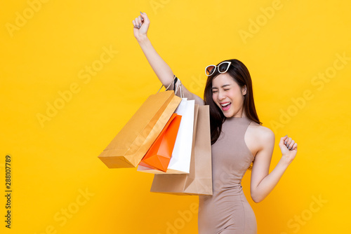 Happy excited Asian woman carrying shopping bags with hand raising up Fototapet