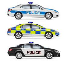 Police Cars Side View Vector Illustration Isolated On White Background. All Elements In The Groups On Separate Layers For Easy Editing And Recolor