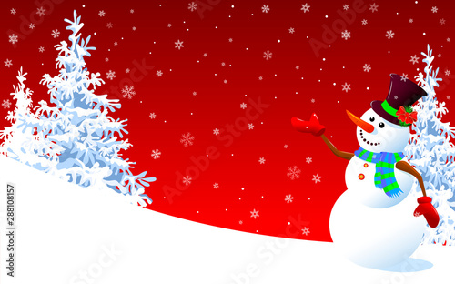 Cute snowman greeting on a red winter background Wallpaper Mural