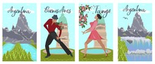 Banner Set Argentina Buenos Aires Tango Lettering.