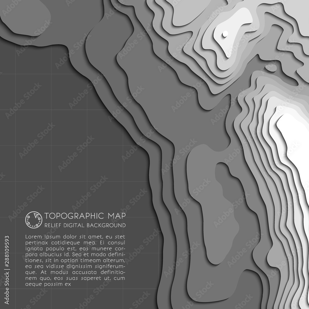 Fototapeta Map line of topography. Vector abstract topographic map concept with space for your copy. Black and white wave. Abstract paper cut. Abstract colorful waves. Wavy banners. Color geometric form