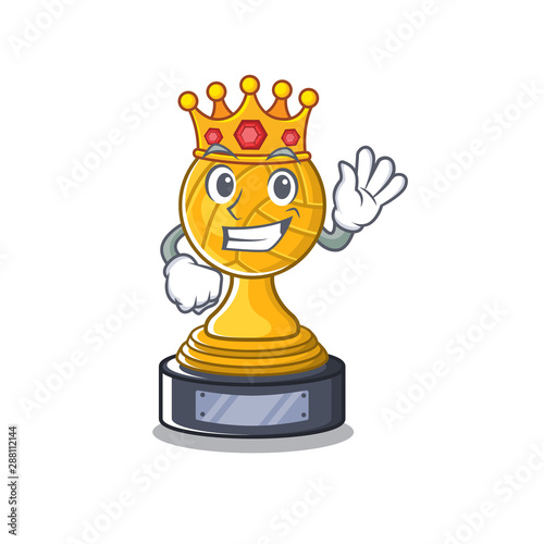 Fototapeta King volleyball trophy cartoon displayed above character table obraz