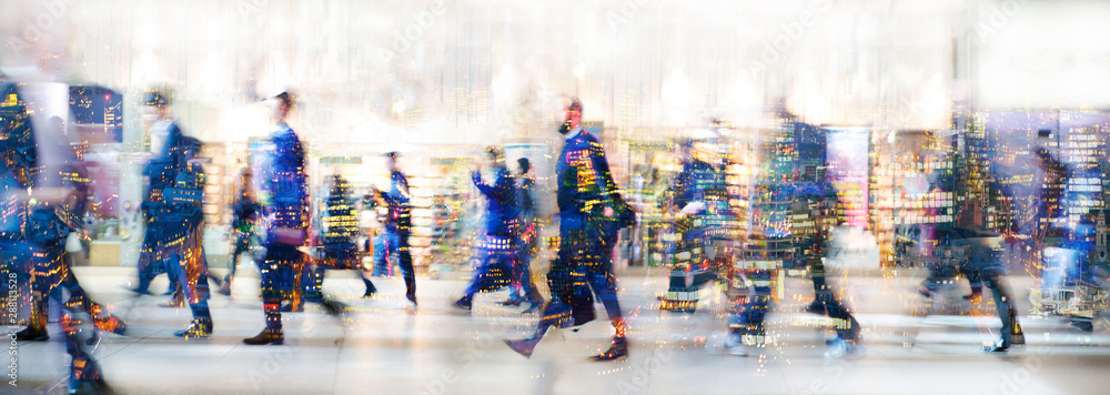 Fototapety, obrazy: London, UK. Crowd of people walking at work in early morning. Concept wide background with  space for text. Multiple exposure image