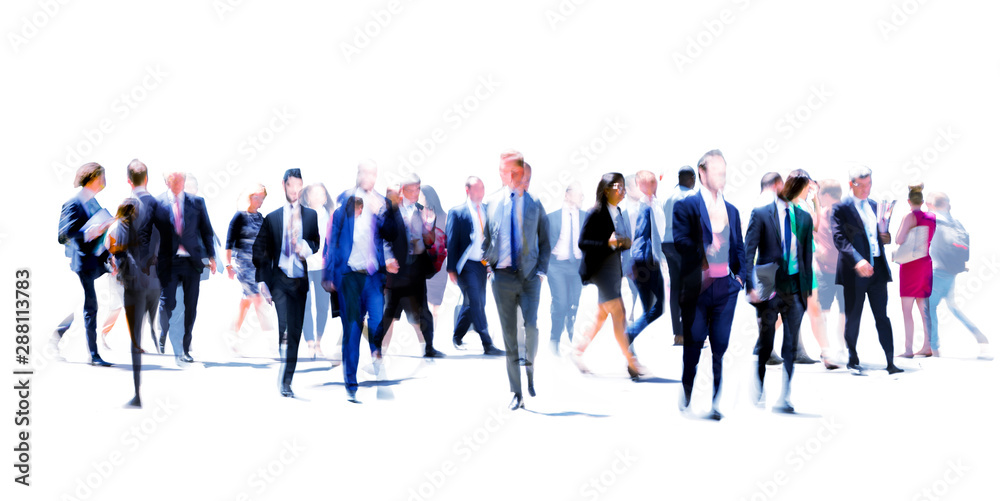 Fototapety, obrazy: London, UK. Business people walking in the City of London. Beautiful blurred wide background representing busy life and modern business rhythm