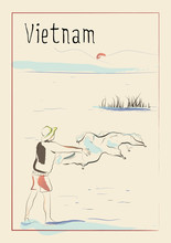 Vietnam. Fisherman Throws A Net At Dawn On A Mountain Lake Lack Travel Poster, Banner, Postcard Or Calendar Page Idea, Stationery Print. Vector