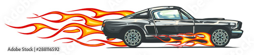 Foto op Aluminium Cartoon cars vector muscle car with flames Crazy race