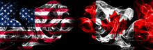 United States Of America, USA Vs Canada, Canadian Background Abstract Concept Peace Smokes Flags.