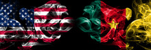 United States Of America, USA Vs Cameroon, Cameroonian Background Abstract Concept Peace Smokes Flags.