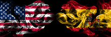 United States Of America, USA Vs Spain, Spanish Background Abstract Concept Peace Smokes Flags.
