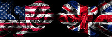 United States Of America, USA Vs United Kingdom, British Background Abstract Concept Peace Smokes Flags.