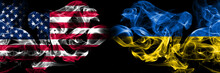 United States Of America, USA Vs Ukraine, Ukrainian Background Abstract Concept Peace Smokes Flags.