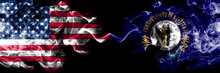 United States Of America, USA Vs Kentucky State Background Abstract Concept Peace Smokes Flags.