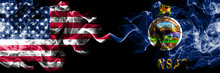 United States Of America, USA Vs Kansas State Background Abstract Concept Peace Smokes Flags.