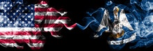 United States Of America, USA Vs Louisiana State Background Abstract Concept Peace Smokes Flags.
