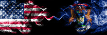 United States Of America, USA Vs Michigan State Background Abstract Concept Peace Smokes Flags.