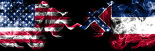United States Of America, USA Vs Mississippi State Background Abstract Concept Peace Smokes Flags.