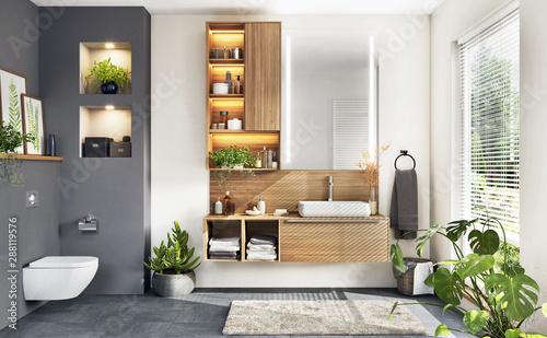 Fotomural  Beautiful modern bathroom with window