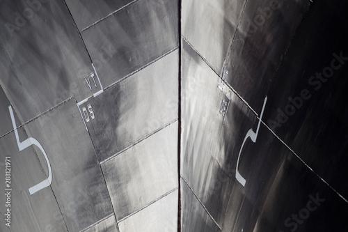 Bugsektion eines Containerschiffes, Detail Fotobehang