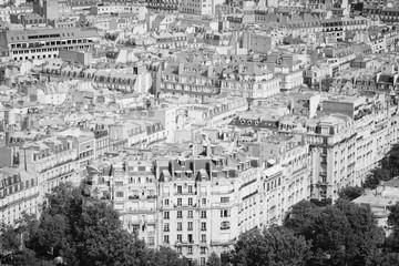 Fototapeta Paryż Paris city aerial view. Black and white photo.