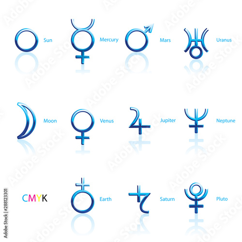 Collection of Astrological Planets Symbols on a White Backdrop Canvas Print
