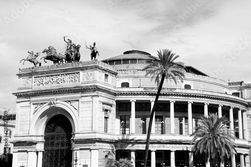 Palermo Teatro Politeama. Black and white retro style.