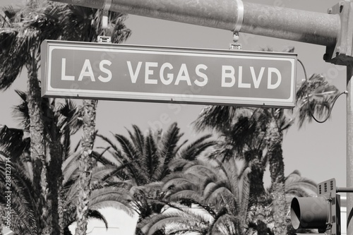 Las Vegas Blvd. Black and white vintage style. Canvas Print