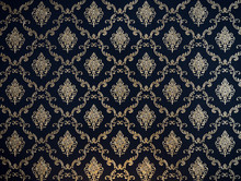 Golden Line Thai Pattern On Navy Blue Fabric For Background