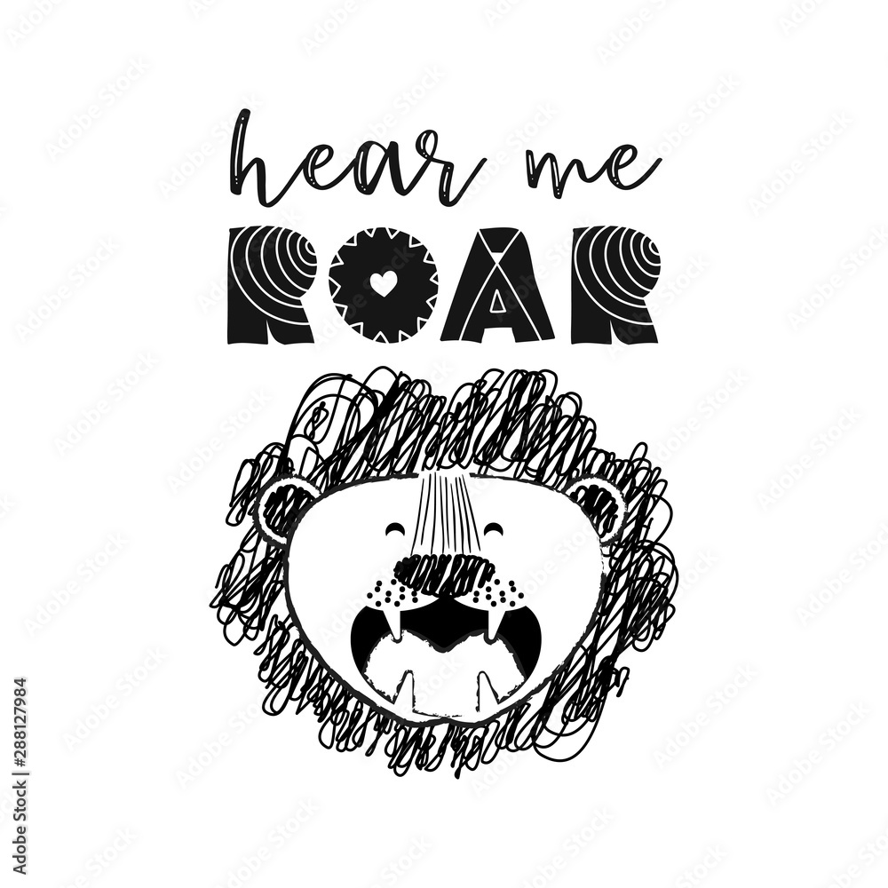 Photo  Hear me roar - funny vector character drawing