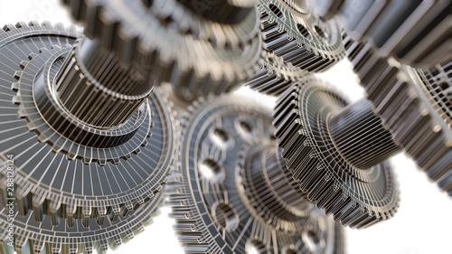 Futuristic gear mechanism Wallpaper Mural