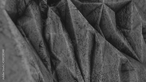 Photo surface with deep geometric relief rough texture similar to a rock, 3d render, a