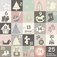 Christmas Advent Calendar With Christmas Symbols. Winter Holidays Poster