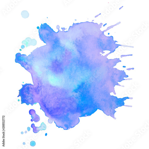 Abstract isolated vector watercolor stain.