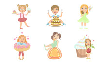 Kids With Sweet Desserts Set, Happy Boys And Girls Eating Cake, Candies, Ice Cream, Donut Vector Illustration
