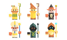 Dwarves With Magical Staves Set, Fairy Tale Design Elements, Fantasy Game Heroes Vector Illustration