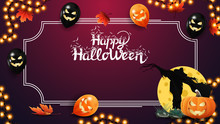Halloween Template For Your Arts. Pink Template With Frame For Text, Autumn Leafs, Halloween Ballons, Garland, Scarecrow And Pumpkin Jack Against The Moon