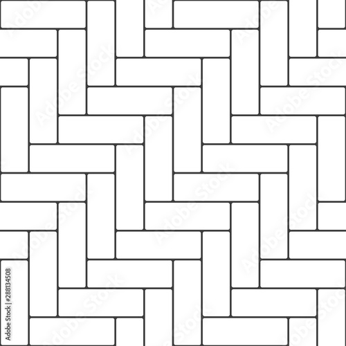 Obraz Herringbone parquet seamless pattern. Outline vintage wooden floor in flat style. Zigzag geometric background. Floor cladding bricks. Vector illustration EPS 10. - fototapety do salonu