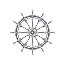Ship Steering Wheel. Vintage N...