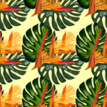 Seamless Pattern Of Heliconia ...