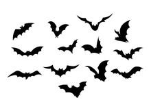 Set Bats. Collection Of Bats. Flying Bats. Halloween. Set Of Black Silhouettes. Cartoon Bats. Line Art. Drawing By Hand. Doodle. Tattoo.
