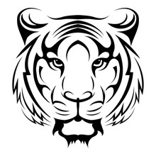 Tiger Logo. Black White Illust...