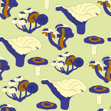 Seamless Acid Pattern. Cartoon Texture With Bright Yellow Mushrooms On A Green Background For Print, Packaging, Paper, Textile Design. Vector Illustration