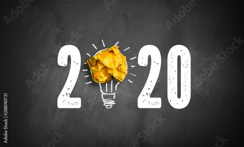 Carta da parati  blackboard with message 2020