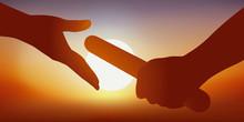 Concept De La Transmission Du Savoir Et Du Partenariat Avec L'image De L'athlète Qui Passe Le Relais à Son Coéquipier Pour Gagner La Course Et Remporter Une Victoire.
