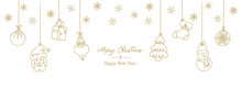 Set Of Hand Drawn Christmas Elements. Isolated Illustration With Santa Claus, Bauble, Snowman And Sock Isolated. Doodles And Sketches Vector Design.
