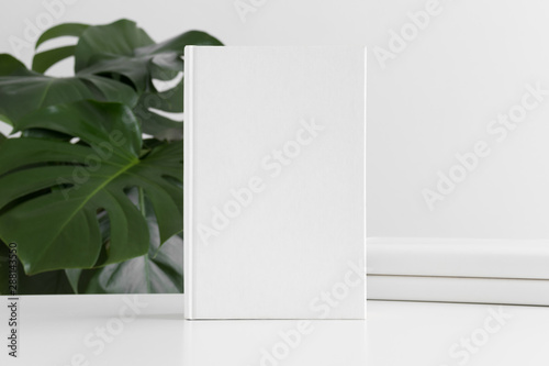 Obraz na plátně  White book mockup with workspace accessories and a monstera plant