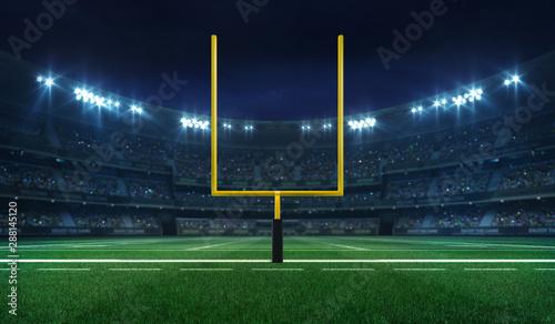Fényképezés American football league stadium with yellow goalpost front and fans, illuminate