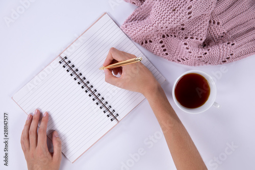 Woman writing on his notebook on a light pink background